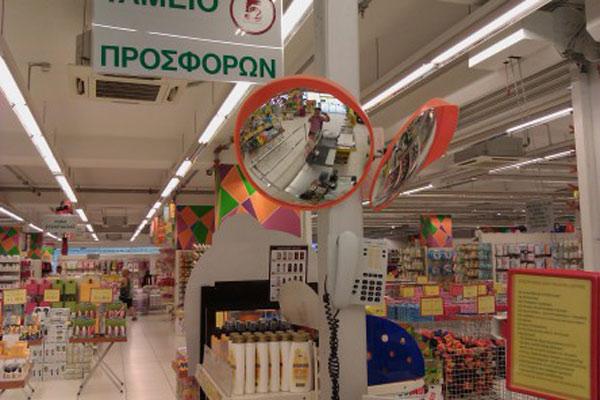 استفاده از آینههای محدب در سوپرمارکت، جهت افزایش ایمنی و جلوگیری از سرقت